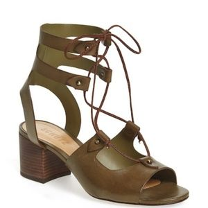 SCHUTZ Monik Comfrey Leather Lace Up Sandals
